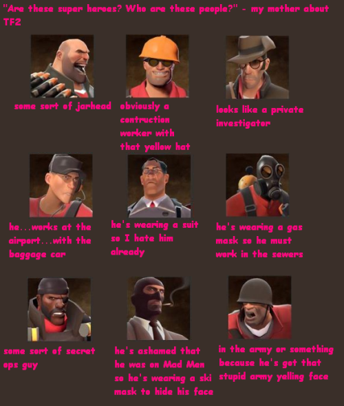 I asked my mother what she thought of the TF2 classes then I put it in pink comic sans because I felt like that's what she would want