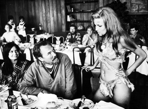 Raquel Welch on a break during the filming of One Million Years B.C. (1966)