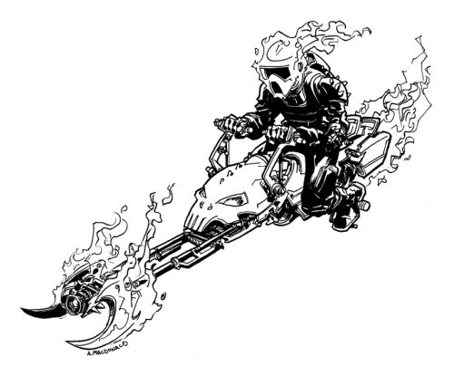 herochan:  Speeder Bike Ghost Rider - by Andy MacDonald