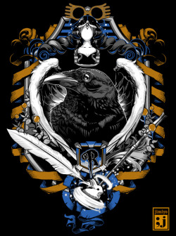 jimiyo:  Ravenclaw Crest. If you can wait a fortnight or 6, you might see it on Teefury.com.If not REDBUBBLE! http://www.redbubble.com/people/jimiyo/works/8479776-ravenclaw-crest