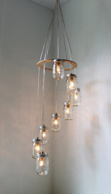 (via Spiral Mason Jar Chandelier Hanging Swag Lighting by BootsNGus)