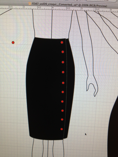 Here's another skirt I did for class today. This one is named Mactans after a different variety of Black Widow. I got the idea for this from a pair of Fluevogs.
