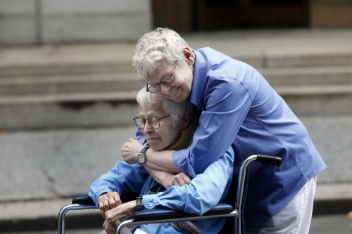 ventingsesh2:  Phyllis Siegel, 76, and Connie Kopelov, 84, hug after being the first gay couple to be married at the Manhattan City Clerk's office.