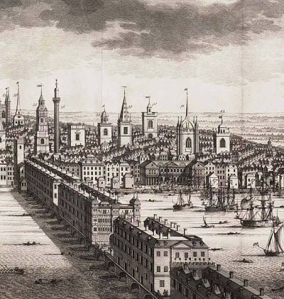 Old London Bridge; 1710