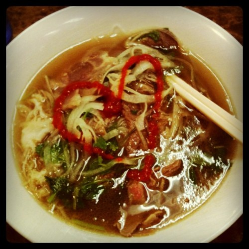ilovemerkz:  #Pho #srirachasauce  (Taken with Instagram at Pho Saigon Vietnamese Restaurant)  this accurately describes my feelings on pho!