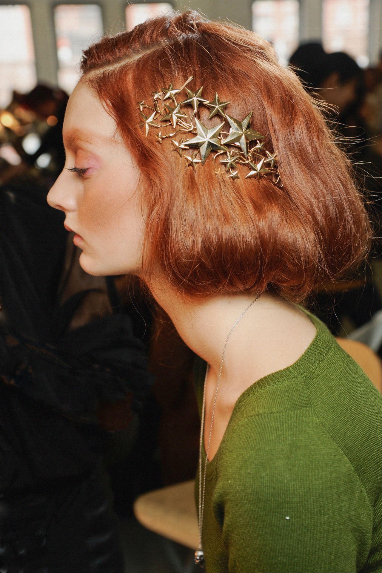 Codie Young Backstage at Rodarte