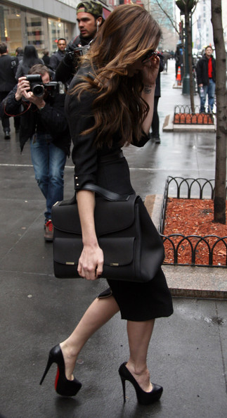 Designer Victoria Beckham headed for the subway to do a photoshoot in Midtown, New York City, New York on February 15, 2012.