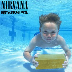 "Nevermind Baby Screen Test | Gold Brick Shoot  ""Kurt used to say in interviews that he and I came up with the idea for the cover while we were watching a TV show about water birthing,"" Dave Grohl told us.  ""Seeing this image, reminds me that we were also watching 'Salute your Shorts' a lot. Kurt loved that show. He thought Bobby Budnick was hilarious. I think we spray-painted a lifeguard training brick for these."""