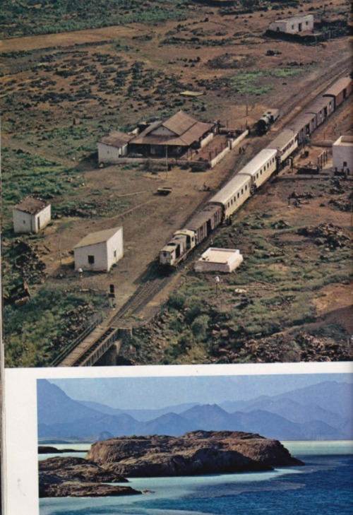 The train from Djibouti town heads for the southern border, end of the line after Somalis cut the rails to Addis Ababa, Ethiopia's capital. Djibouti's economy was derailed, losing half a million dollars a month in customs duties from the railway, which carried 60 percent of Ethiopia's foreign trade. The railroad has since been reopened. October, 1978