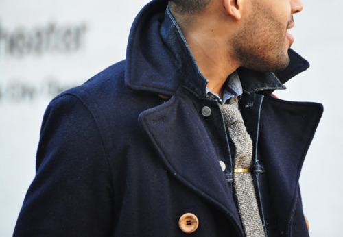 Pea coats are perfect, you can dress them down and up.