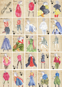 Snap shot of images created to display the sketches of Sydney Fashion Designer Karima Chloe Hazim .. layout, type and design done by am media. Each frame symbolises a page in the final book.