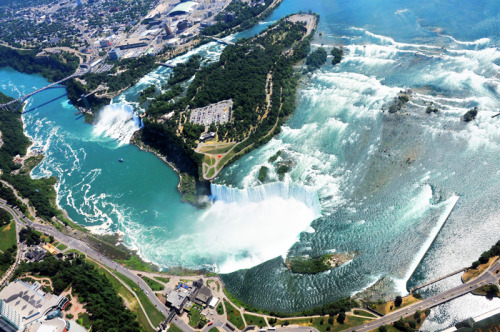 flight001:  Niagara Falls from a helicopter, Ontario.