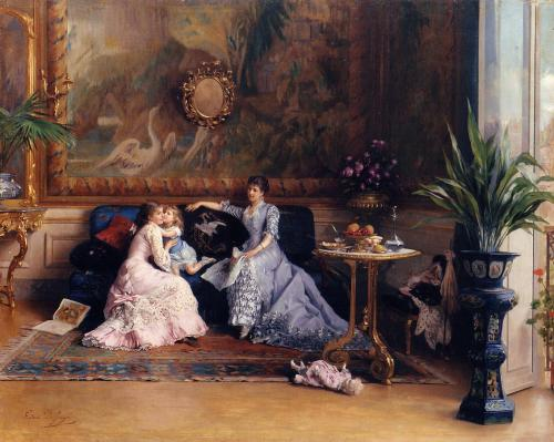 The Afternoon Visit by Gustave Léonard de Jonghe, 1870's-80's