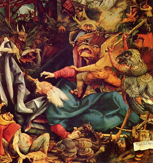 Hieronymous Bosch Creatures and Caliban Sorry to be sticking with the Caliban trend… There was an image in our copy of The Tempest (Folger, page 84), glossed in the reference notes, of a fish-bird-man-thing - a visual interpretation of Caliban. Of course, there are a million interpretations of Caliban (and Ariel too), but this one was so eerie that it got me thinking of some paintings I've seen by Hieronymous Bosch. A bit about Bosch:  he lived simultaneously in line with and before his time, and a century prior to Shakespeare. A Dutch painter of the 15th century, Bosch's work represents the transition from the religious imagery of the Middle Ages to the individualist imagery of the Renaissance; his work's content derives from Biblical scenes (such as Genesis, Hell, The Last Judgement, etc.) though the imagery he uses is visionary and magical. His creatures are often absurd hybrids of things…hence, we may consider them many of them Caliban-like… This image is a detail from Bosch's Temptation of Saint Anthony.  Besides the connection to the wild visual representations of Caliban, I think Bosch's larger body of work reflects larger themes in The Tempest: for instance, the work represents different types of power - magical, religious, political, etc, through this rare combination of religious imagery and individualized artistic style. Also, Bosch lived at a time of toss up between religious hierarchy and individual autonomy, and he also lived though the era in which European nations began conquests to the New World. I like to think Bosch was embracing the concept of the New World in his art, as his paintings of abnormal creatures were breaking the artistic codes of the day.  _Mikhaila