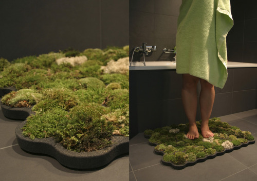 agoodpaganwife:  lucifelle:  Moss Shower Mat This bathroom mat is made of imputrescible foam called plastazote. Each cell contains a piece of moss. The mat contains a total of 70 pieces of ball, island and forest moss. The humidity of the bathroom and the drops flowing from the body water the mosses.  I need this. Like, now.