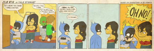 jl8comic:  JL8 #16 by Yale StewartBased on characters in DC Comics. Creative content © Yale Stewart. Like the Facebook page here!  Batman's got cooties! Run from him!
