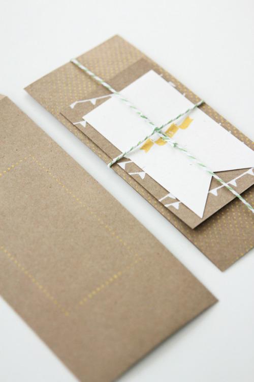 sweepmeup:  White ink on kraft wedding invitation suite by Fellow Fellow