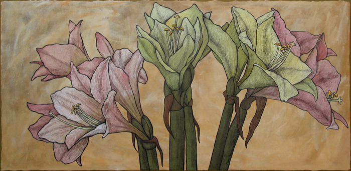 RADIANT BEAUTY • 100 x 50 cm • acrylic on canvas, sepia pencil, acrylic pen • 2011