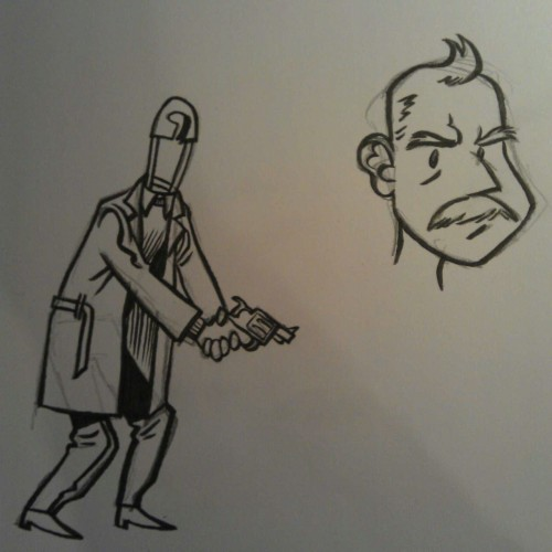 Sketches for the return of Paperclip Jones? Here are Kid Safety and the now heavily medicated Chief.