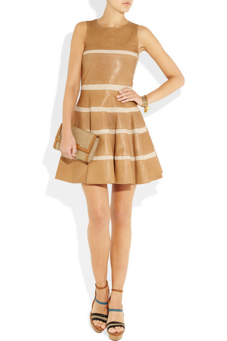 See by Chloe Striped nappa leather and poplin dress