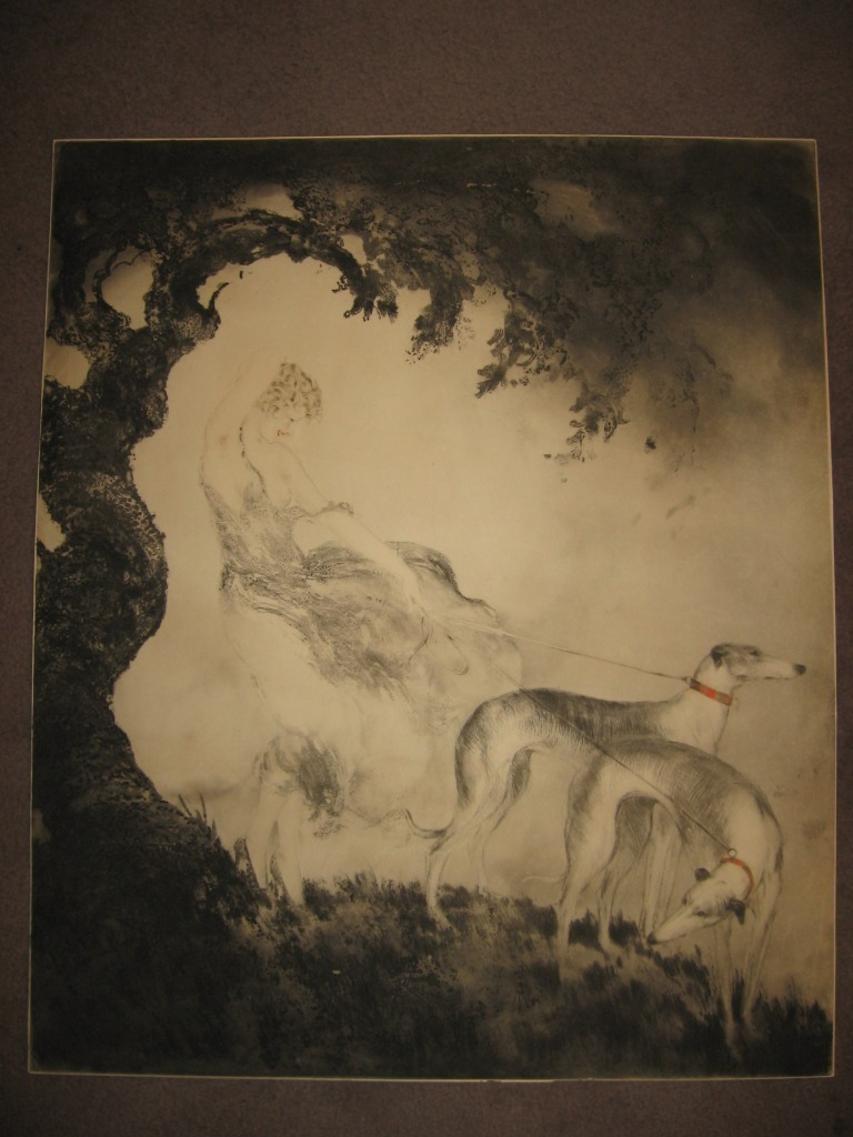 Gust of Wind (1925) etching by Louis Icart (1880-1950)