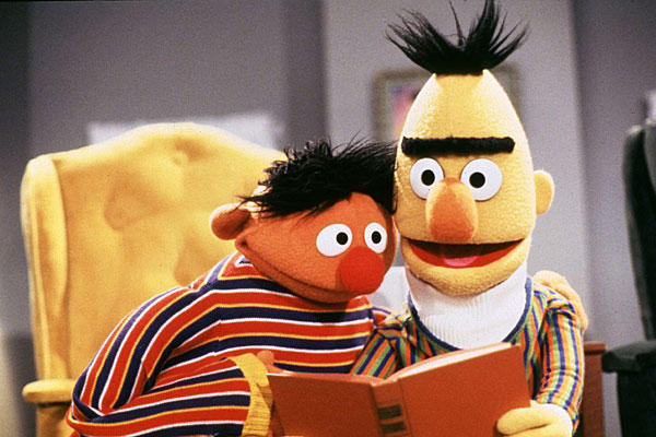 Bert and Ernie read.