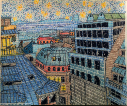 mondeflottant:  Paris la nuit. (Paris at night) Colored pencils on paper.