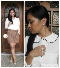 Lookbook: Ivory + Orb What I Wore Today: White scallop collar blouse with black trim by Asos, tan bow tie shorts by Marcs, nude coloured pumps by Tony Bianco , orb clutch by House of Baulch and Flower Crown Rings by me. Nailpolish Suggestion for this look: OPI Spark de Triomphe (silver sparkly glitter polish) 'Til my next outfit post! :) Nikki