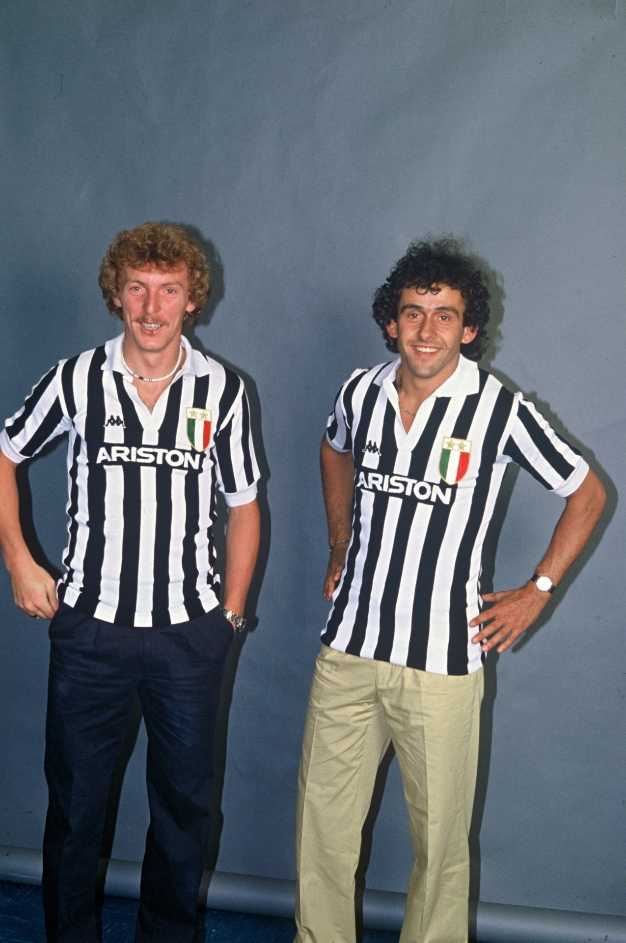 Boniek and Platini on their arrival at Juve, 1982.