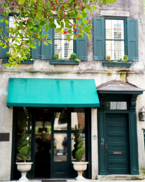 Teal decor on a Charleston storefront, South Carolina
