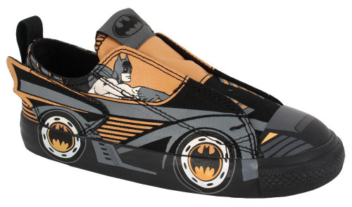 fashiontipsfromcomicstrips:  Chuck Taylor DC Comics - Batmobile (Kids 1-3 yr), $37, Converse Although the current DC Comics x Converse catalog is pretty sweet, none of the designs have really made me rush out to purchase a pair of kicks; partially because I seldom wear sneakers, and primarily because when I do, I already own a pair of vintage Batman x Converse hi-tops. That said, it appears that I've finally encountered the only exception: if these Batmobile Chucks were available in adult sizes, I would stock up on a few backup pairs and wear them EVERY FUCKING DAY. Get on it, Converse.