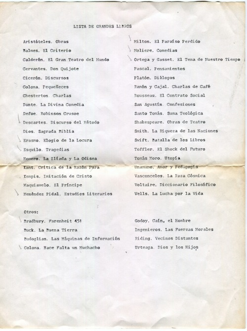 [GREAT BOOKS LIST] Found recently while going through my mother's archives. A friend's father made it for them when they were young. My mother can't remember if the check marks are hers or her friend's. (Please notice: «God. Holy Bible.» remains unchecked).
