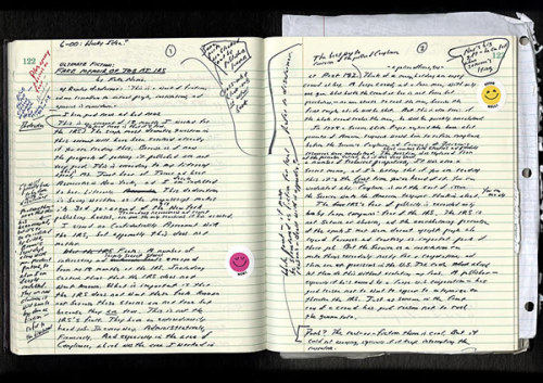 "David Foster Wallace's notebook ""The relatively short extensions on letters like 't' and 'd' indicate a writer who is ""practical"" and ""mechanical"" and suggests ""short-term goals,"" whatever that means. Like Palahniuk, Wallace prints, though we would argue that his writing is much more ""harmonious"" and thus more likely to indicate ""a person who thinks in a building block fashion… able to take many small details and combine them into a coordinated whole."" Well, after our five hundredth footnote, we know that's accurate."" - Analyzing Writers' Personalities From Their Handwritten Manuscripts"