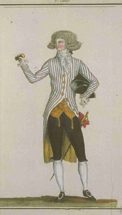 Magasin des Modes, January 1788.  I want a tiny version of him to put in my pocket and take out at work whenever I'm bored!