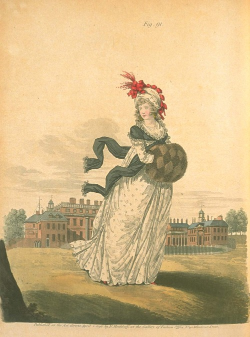 Gallery of Fashion, Morning Dress, April 1796.  Holy harlequin muff!  I am DYING for that thing!
