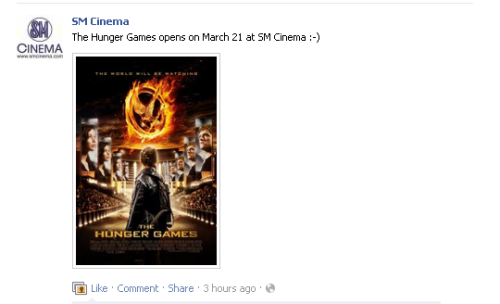 The Hunger Games opens March 21 at SM Cinemas nationwide LATEST UPDATE: NOW MARCH 22! SM Cinemas just announced in their FB page that The Hunger Games will open on March 21 instead of March 22. If you will remember, SM Cinemas tweeted last December that the film will be released on March 21 then last Feb. 6 they announced that it will be on March 22. Let's hope March 21 will be the final release date. No information if other cinemas will share the same date.