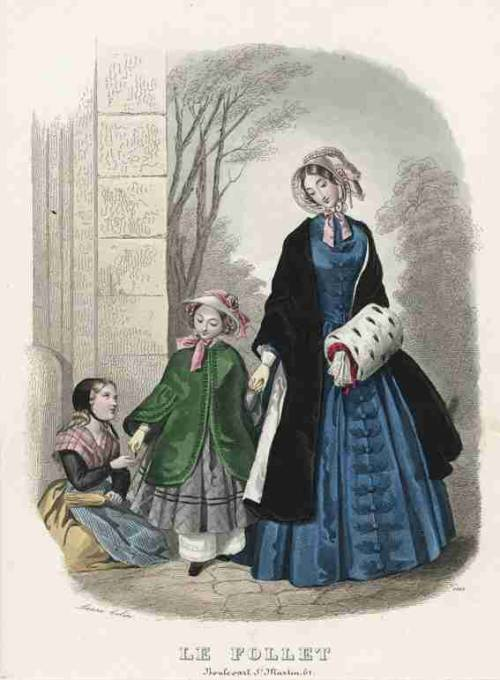 Le Follet, February 1847.  What a magnificent blue!  It is especially lovely paired with the lushness of the black fur cloak and the ermine muff!