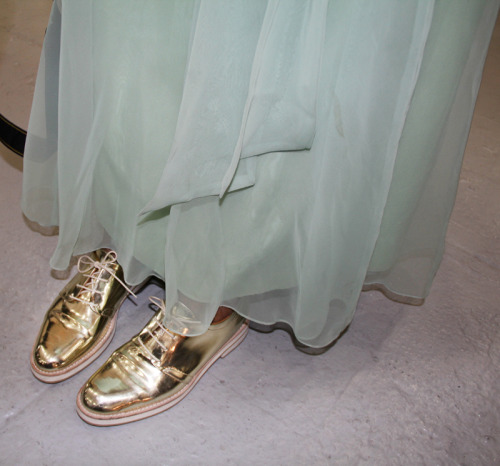 Golden exfords backstage at Rodarte Photographed by Eva Chen