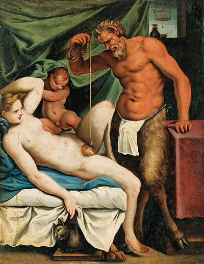 uglyrenaissancebabies:  Agostino Carracci, Satyr Mason Whoa whoa whoa. Is he trying to hypnotize her vagina?  Proof that vaginas are chambers of evil.