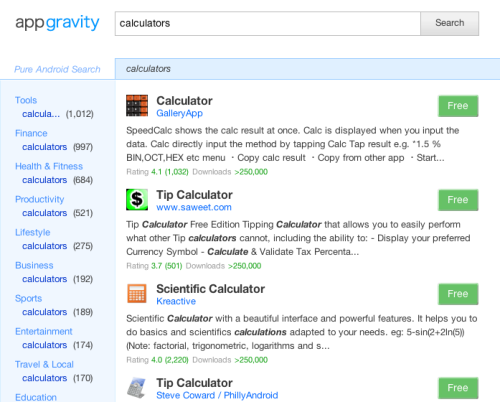 Appgravity.com - a search engine for Android apps Built by @CaffeineComa