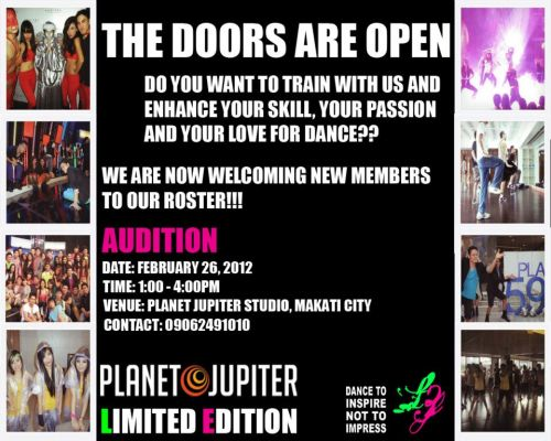"AUDITION AUDITION!Date: February 26, 2012Time: 1:00-4:00pmVenue: Planet Jupiter Studio, #20 Jupiter Street, Makati City - 5min from MRT Station Buendia Contact: 09062491010LIMITED EDITION MANILA - a dance company based in the Philippines, choreographers and dancers for several tv-shows and artists, instructors of the Starmagic Workshops 2009-2011Founded in March 2009 by Swiss champions with Asian roots, LIMITED EDITION MANILA has been performing for a wide range of audiences in various shows and events across the country. Guided by the theme ""Dance To Inspire, Not To Impress"", this fresh group of young, diverse and talented dancers is committed to dance as an art with the power to reach out while having fun. Company Overview: LIMITED EDITION MANILA: Our professional adult dance group which has performed and choreographed for several shows, events and artists. ELEMENTZ: Our apprentices with hands-on experience. These dancers undergo a dance and acting training to develop their physical, mental and social abilities. DANCE EDUCATION: We teach dance workshops and private sessions for single clients, schools and companies with a wide range of dance styles at any level. CHOREOGRAPHING: We create, design and instruct a show for you for any event such as birthday parties, company events, group competitions, mobb dance and everything else! ENTERTAINMENT: We provide our dancers for your event with unique dance steps and matching costumes, also for modelling and pictorials. Let your imagination run free! Note: This is an audition to join the group in general, not for specific projects or ""rakets"". Thank you! See you on the audition!!!"
