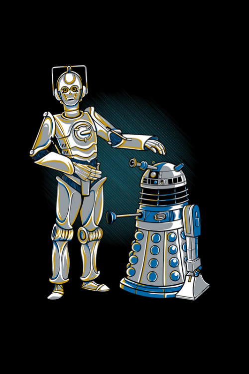 beyond-starwars:  Cyber3PO and R2Dalek - by Kari Fry Prints available at Society6 (via: tiefighters)