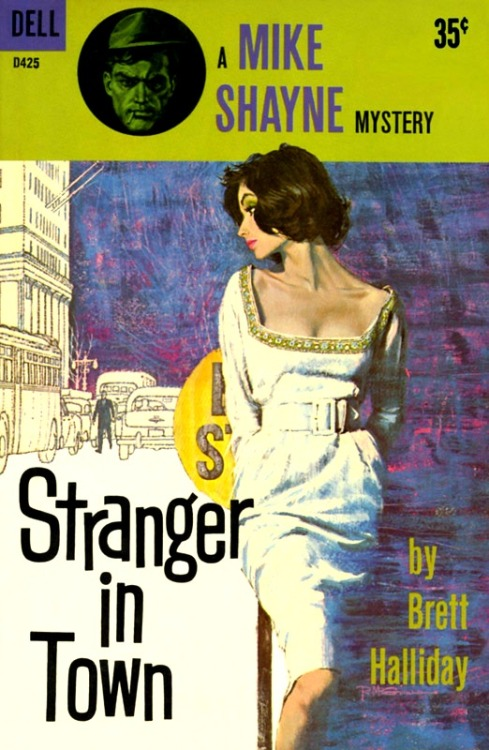 booklustomnibus:  Stranger in Town by Brett Halliday, 1961. Cover art by Robert McGinnis.