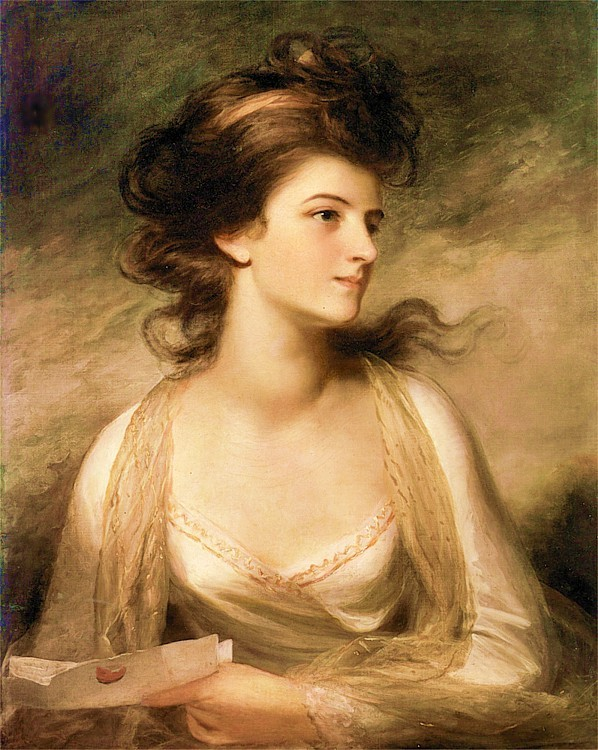 beautifuldavinci:  John Hoppner ( 1758 – 1810) was an English portrait painter. Hoppner was born in Whitechapel, London, the son of German parents - his mother was one of the German attendants at the royal palace. King George's fatherly interest and patronage of the young boy gave rise to rumours, quite unfounded, that he may have been his illegitimate son. Hoppner became a chorister at the royal chapel, but, showing strong inclination for art, in 1775 he entered the Royal Academy. In 1778 he took a silver medal for drawing from life, and in 1782 the Academy's highest award, the gold medal for historical painting, his subject being King Lear. He first exhibited at the Royal Academy In 1780. His earliest love was for landscape, but necessity obliged him to turn to the more lucrative business of portrait painting. At once successful, he had throughout life the most fashionable and wealthy sitters, and was the greatest rival to the growing attraction of Thomas Lawrence.