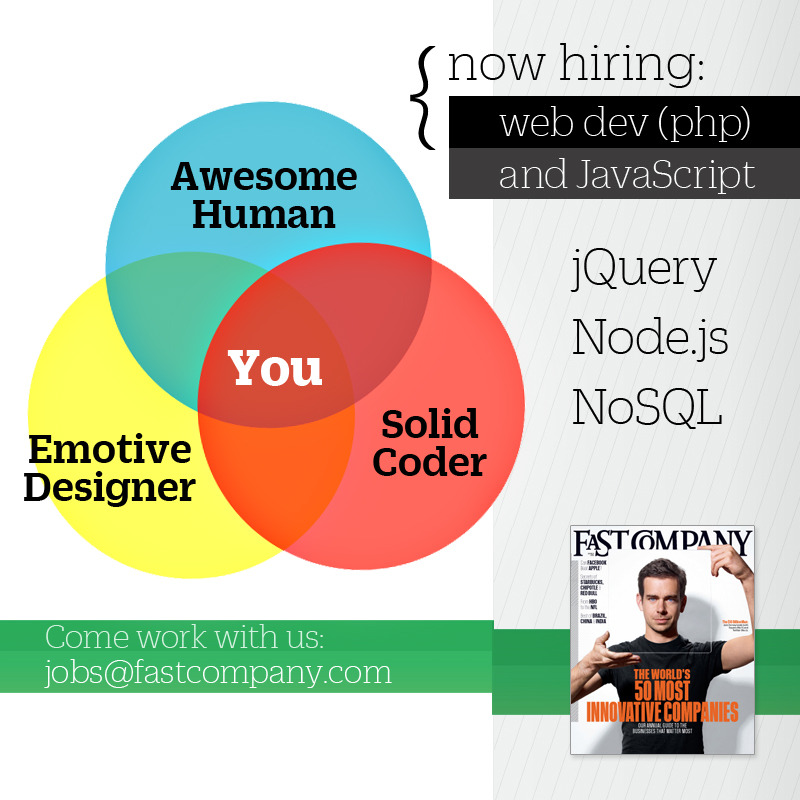 Check out this cool recruiting ad from @fastcompany:  Fast Company is hiring, come work with us!