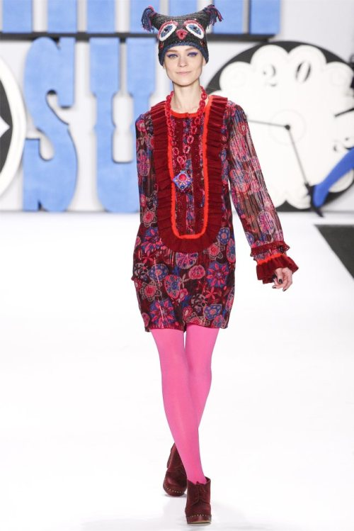 Anna Sui Fall 2012 | New York Fashion Week. Is that an owl hat? More people should wear stuff like this. If you're curious, the model in the photo is Kati Nescher.