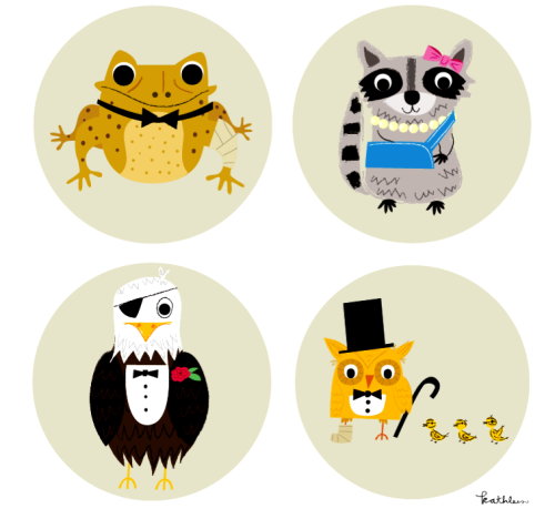Pin designs for Willowbrook Wildlife Center's Night Owl Ball.  They help injured and orphaned wildlife!