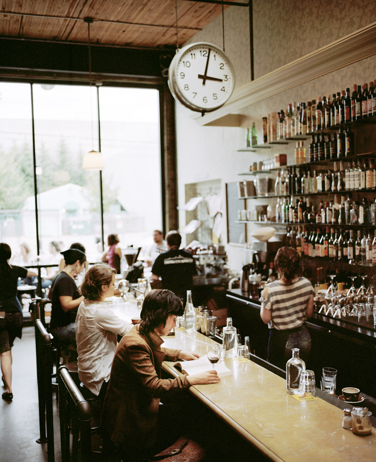 My favorite restaurant in Seattle, Cafe Presse, shot with my favorite camera, Mamiya 7. Large.