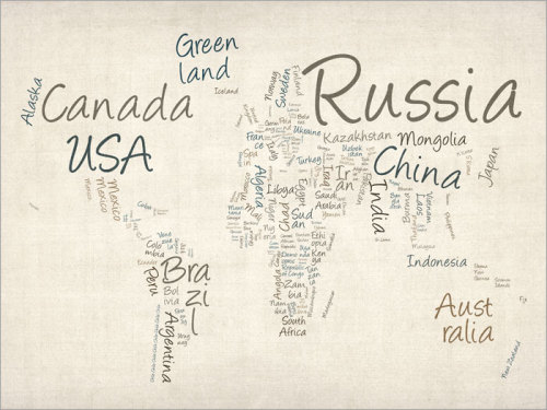 Writing Text Map of the World Map Art Print by artPause on Etsy