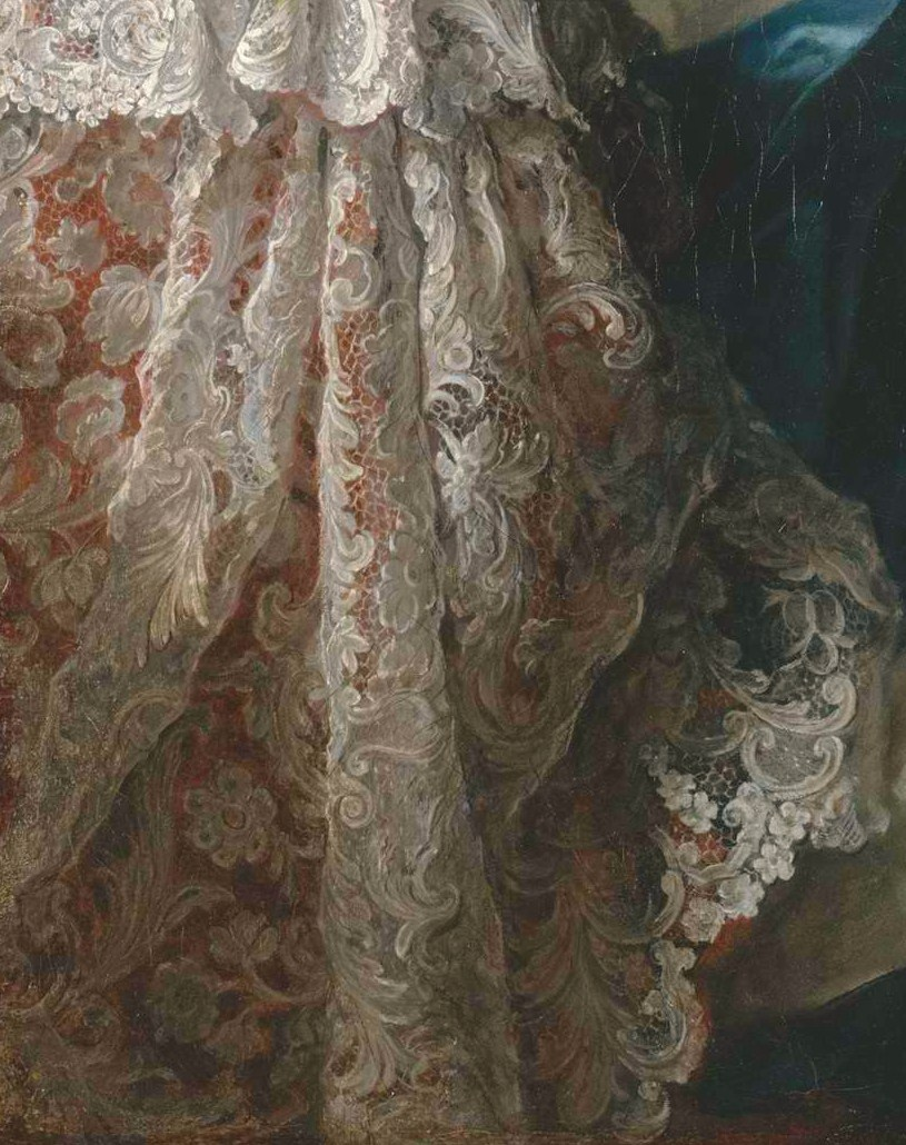 "Lace detail from the boudoir in the painting ""Madame Marsollier and Her Daughter"" by Jean Marc Nattier (1749)"